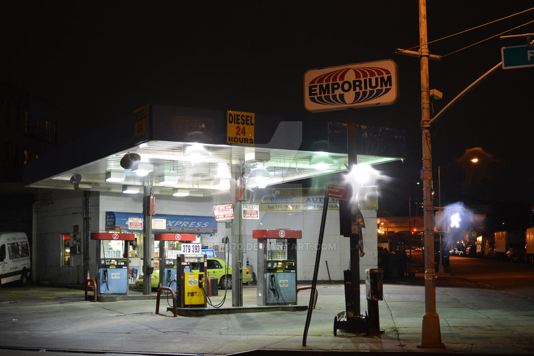 Brooklyn Gas Station at night by BR7970