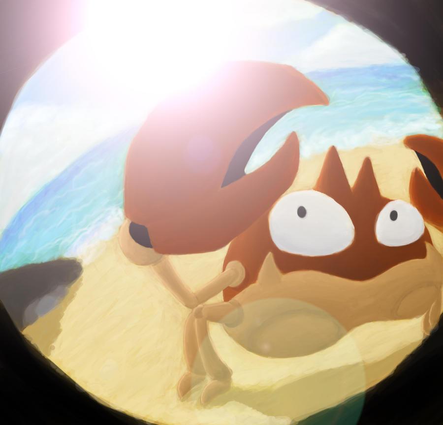 Krabby on the Beach by TouchFuzzyGetDizzy