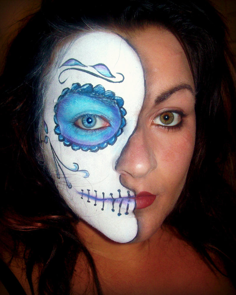 Viewing Gallery For - Half Candy Skull Makeup