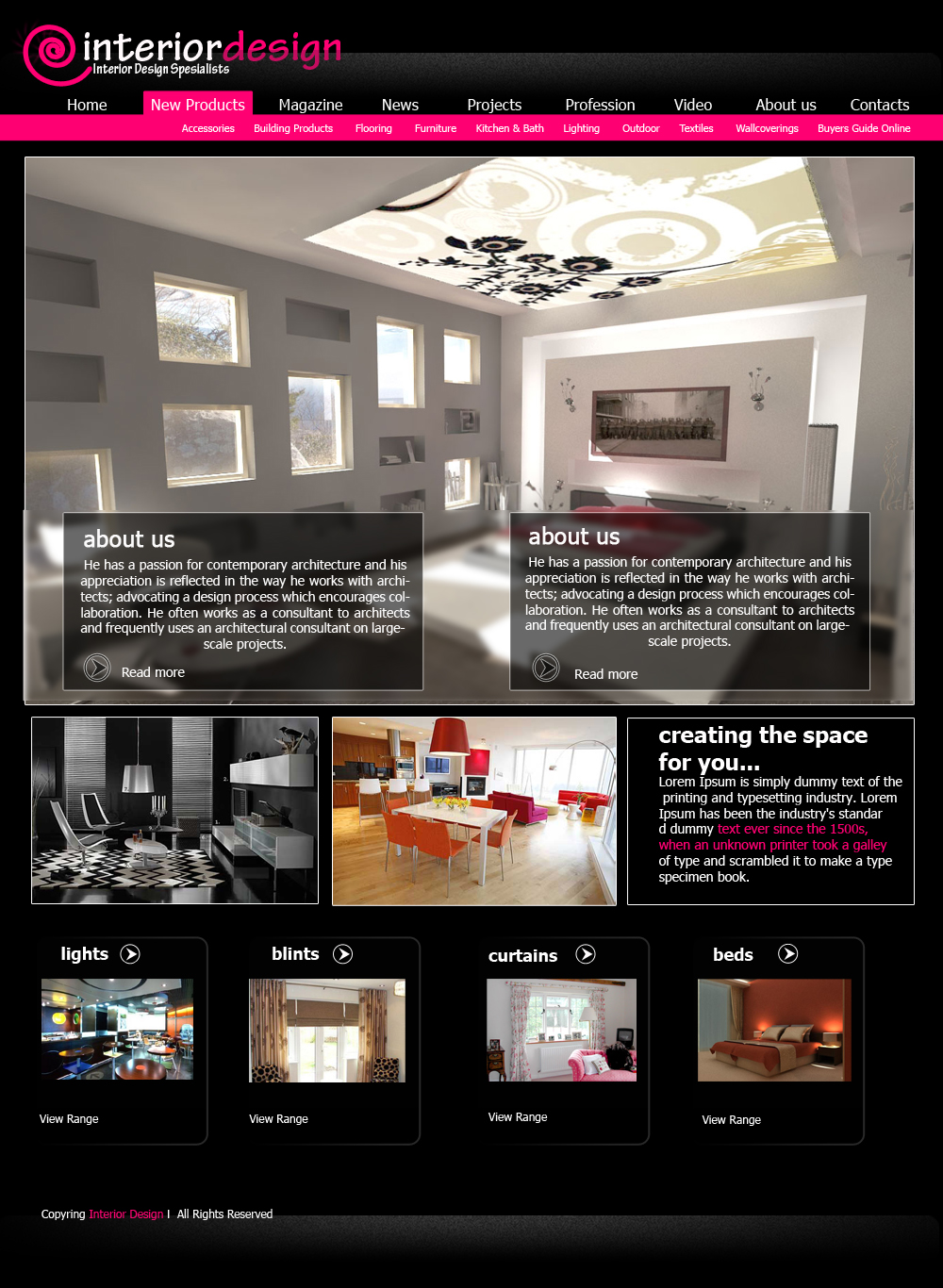 Interior design web template by viktorian on deviantart for Interior design layout templates