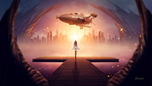 The arrival of the airship
