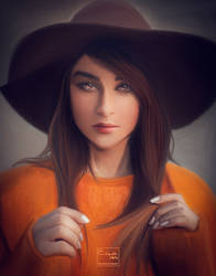Girl with hat | Digital painting