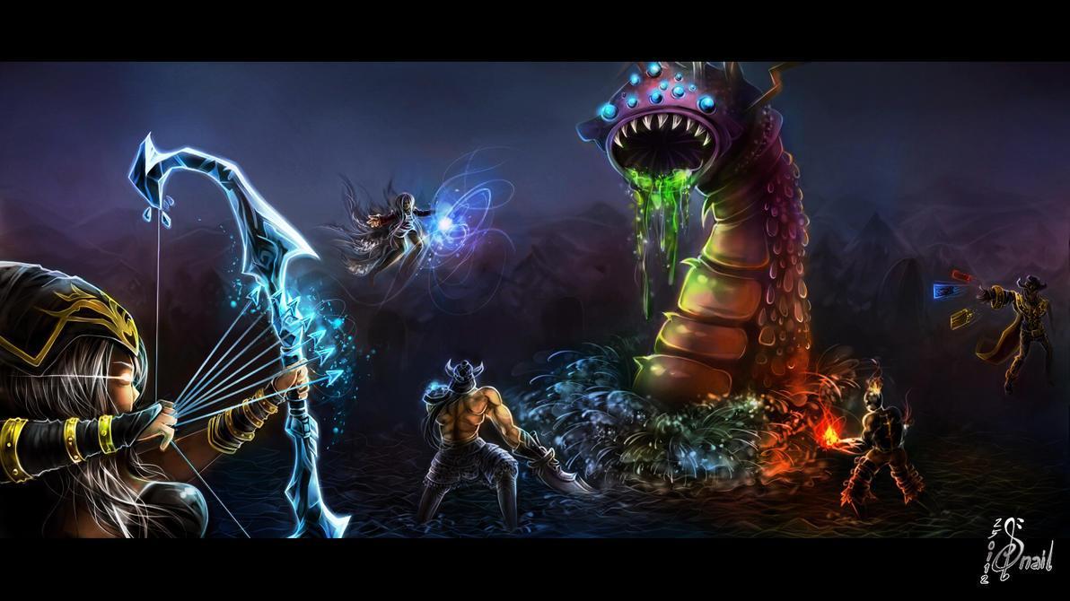 LoL_The Baron battle by SnellSnail