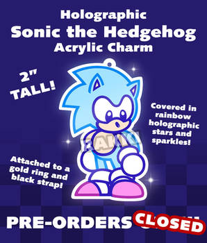 Holographic Sonic the Hedgehog Acrylic Charm