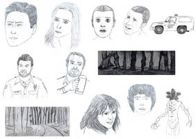 Stranger Things and  X Files sketches by Gequibren