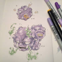 pkmn of the day- Coffing and Weezing by ExShen