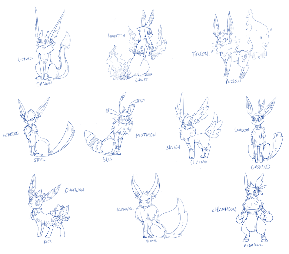 Eeveelutions Coloring Pages