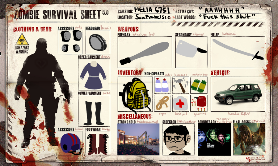 Zombie Survival Sheet by IEatYourHead