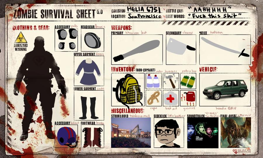 Zombie Survival Sheet by IEatYourHead