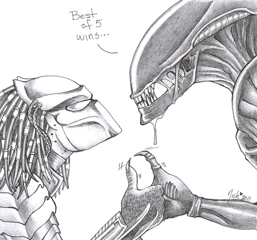 the gallery for gt simple alien vs predator drawings