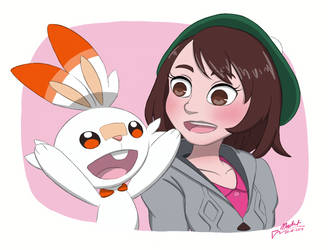 Female Trainer and Scorbunny [Pokemon Gen 8] by MusketsGoBoom