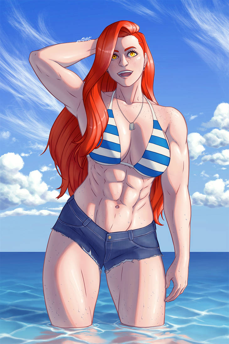 At the beach (redraw)