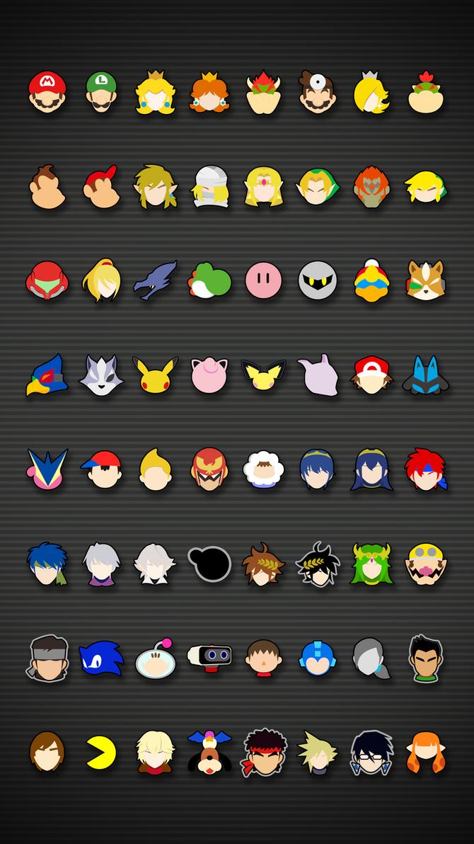 Smash Bros Ultimate Icons - Mobile Wallpaper by Kaz ...