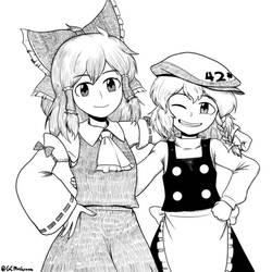 Reimu and Marisa by GiantCaveMushroom