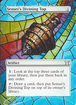 mtg Altered - Sensei's Divining Top Stained Glass