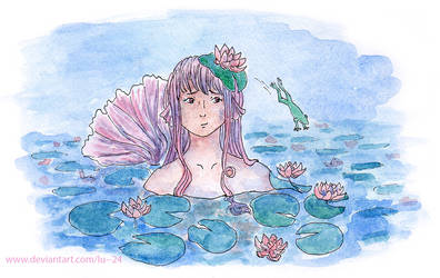 A mermaid in the pond