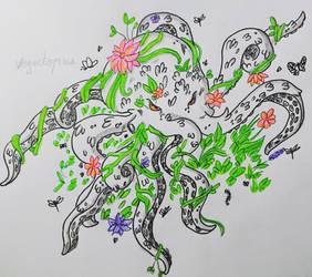 Floral octopus by Yami-Yoru