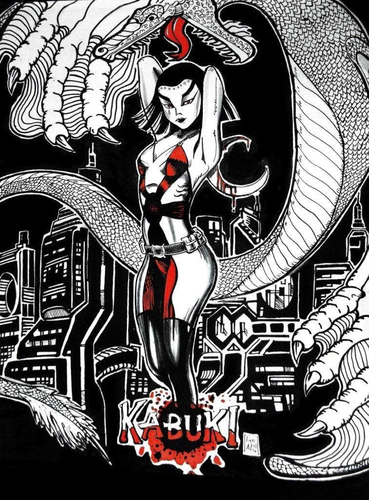 Kabuki and Dragon by ArtL2000