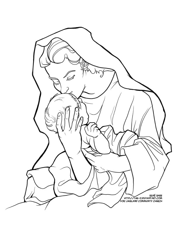 advent coloring page mary by the z