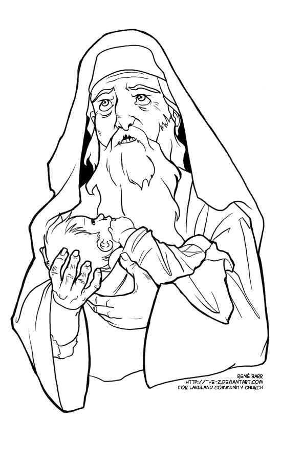 Jesus Meets Anna And Zacheria Coloring Page