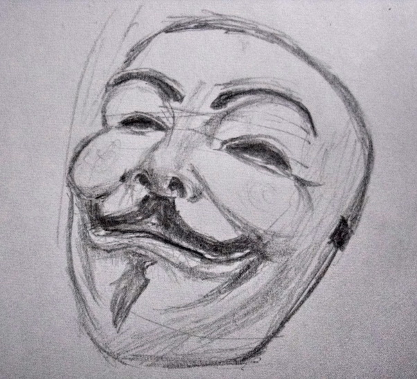 V For Vendetta Mask Drawing Vendetta Mask Q...