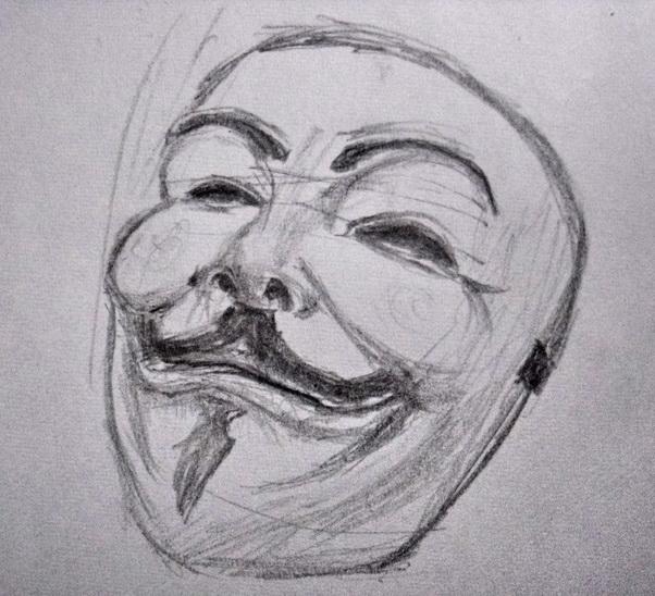 V For Vendetta Mask Drawing Vendetta Mask Quick Sk...