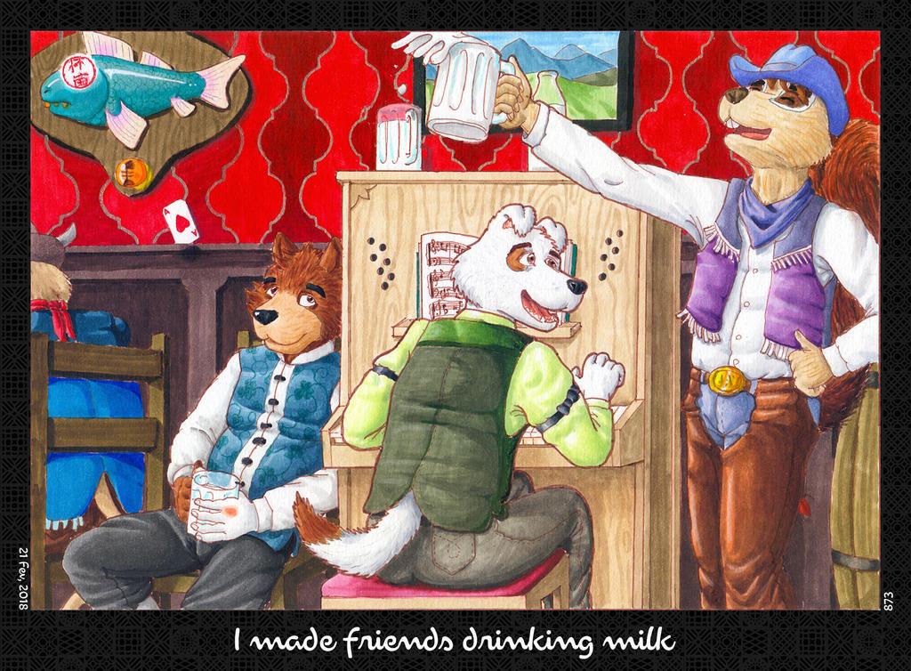I made friends drinking milk by HweiChow