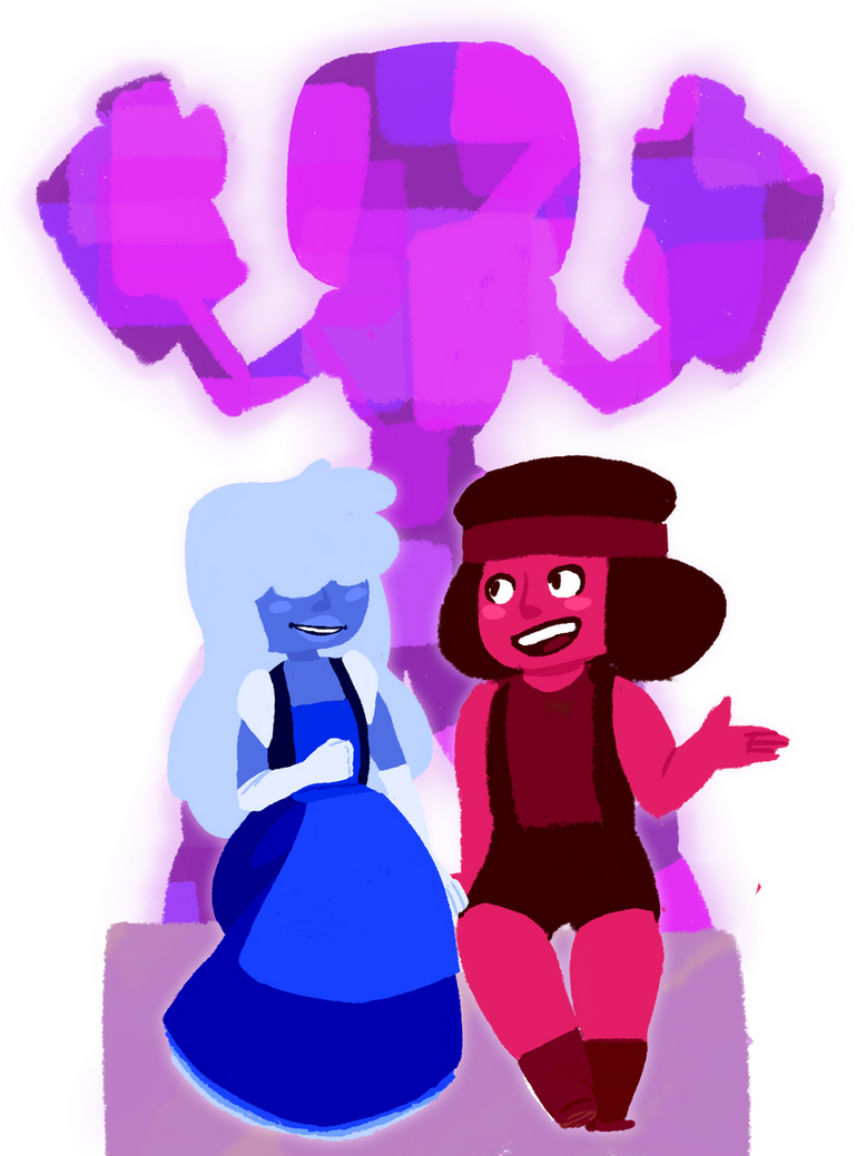 Aughhh I'm in love with steven universe, tbh... Tryin' somethin' a lil different, feat. Sapphire, Ruby, an Garnet.