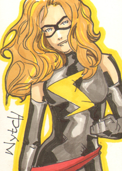 Mrs Marvel sketchcard by supamarioman