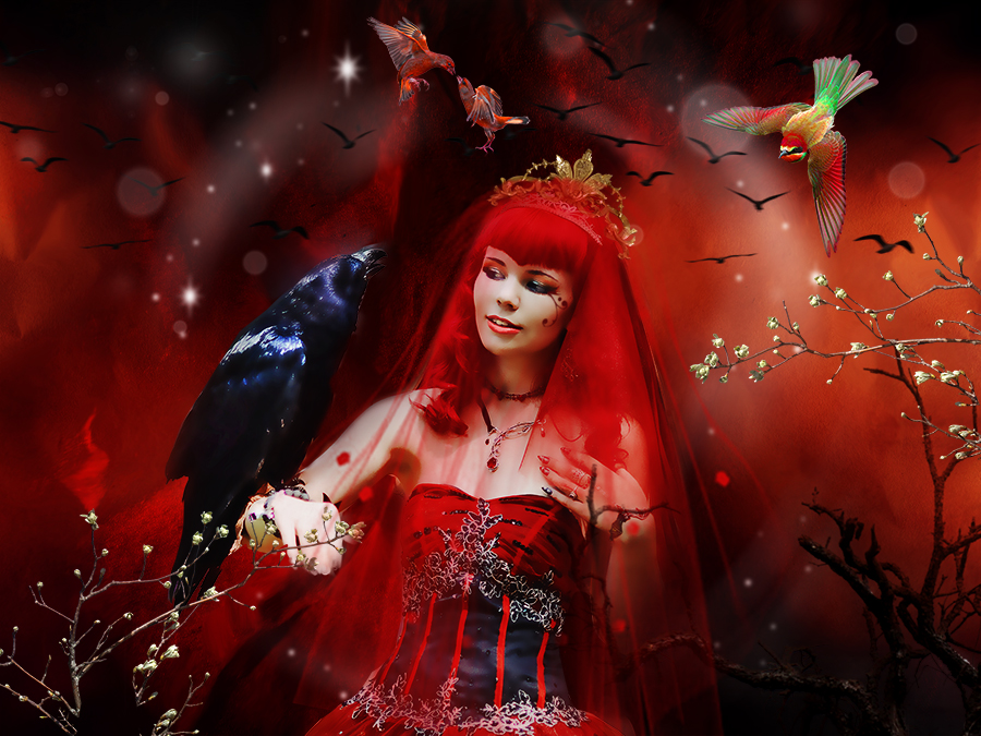 The Red Lady with her Bird by annemaria48