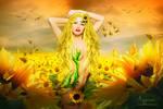 Sun flower woman