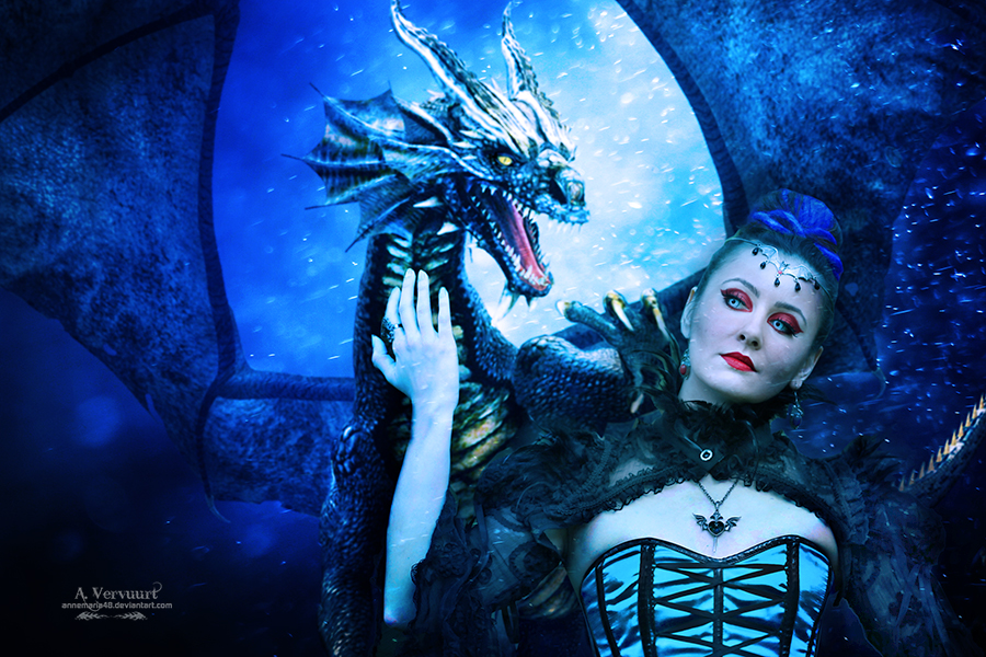 The bleu dragon and witch