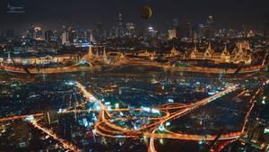 Neon lights city bangkok