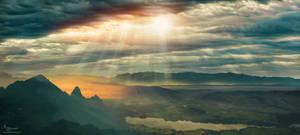 Rayons de soleil sur le lac de Gruyere  view