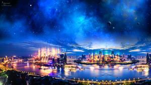 Skyline City neon China