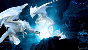 Dragon family in cave