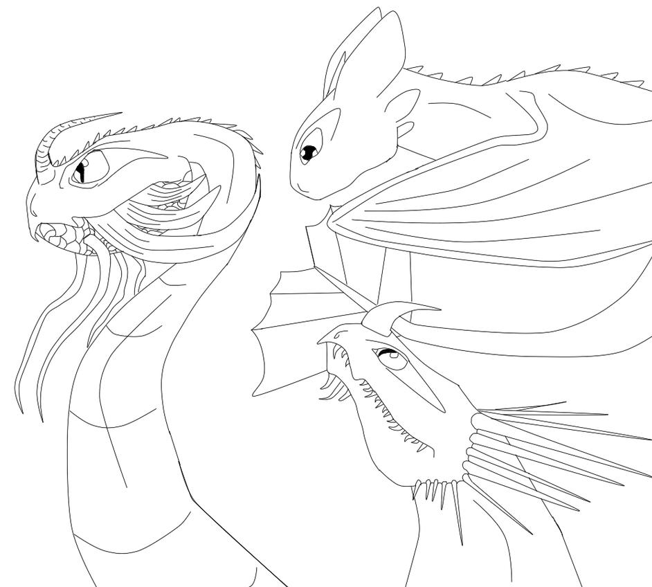 The Three Dragons Scauldron Night Fury And Skrill By PeregrineFalconFury