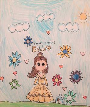 Kawaii Belle In Her Garden - By 7 Yr Old Artist!