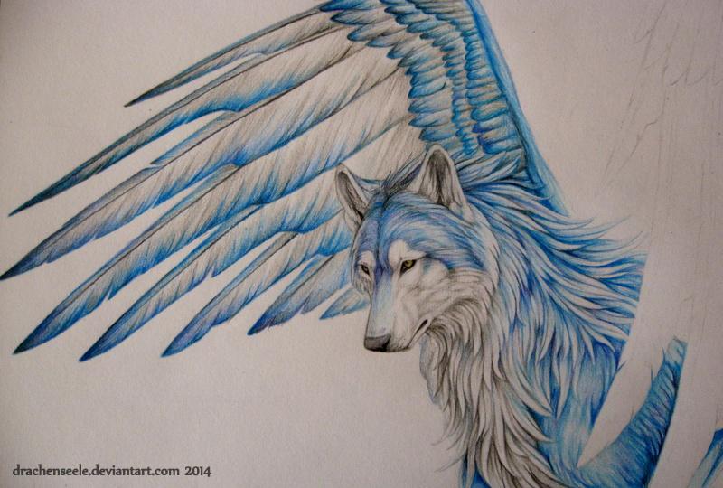 wolf heulend gezeichnet