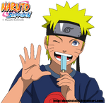 Naruto eating icecream - Lineart colored