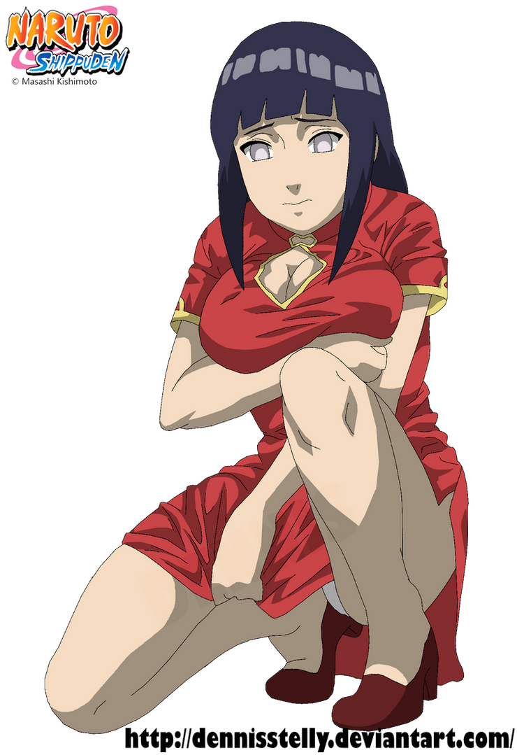 Hinata Hyuga Red Outfit Lineart Colored By Dennisstelly