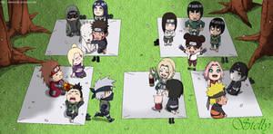 Naruto All Chibi - Lineart Colored
