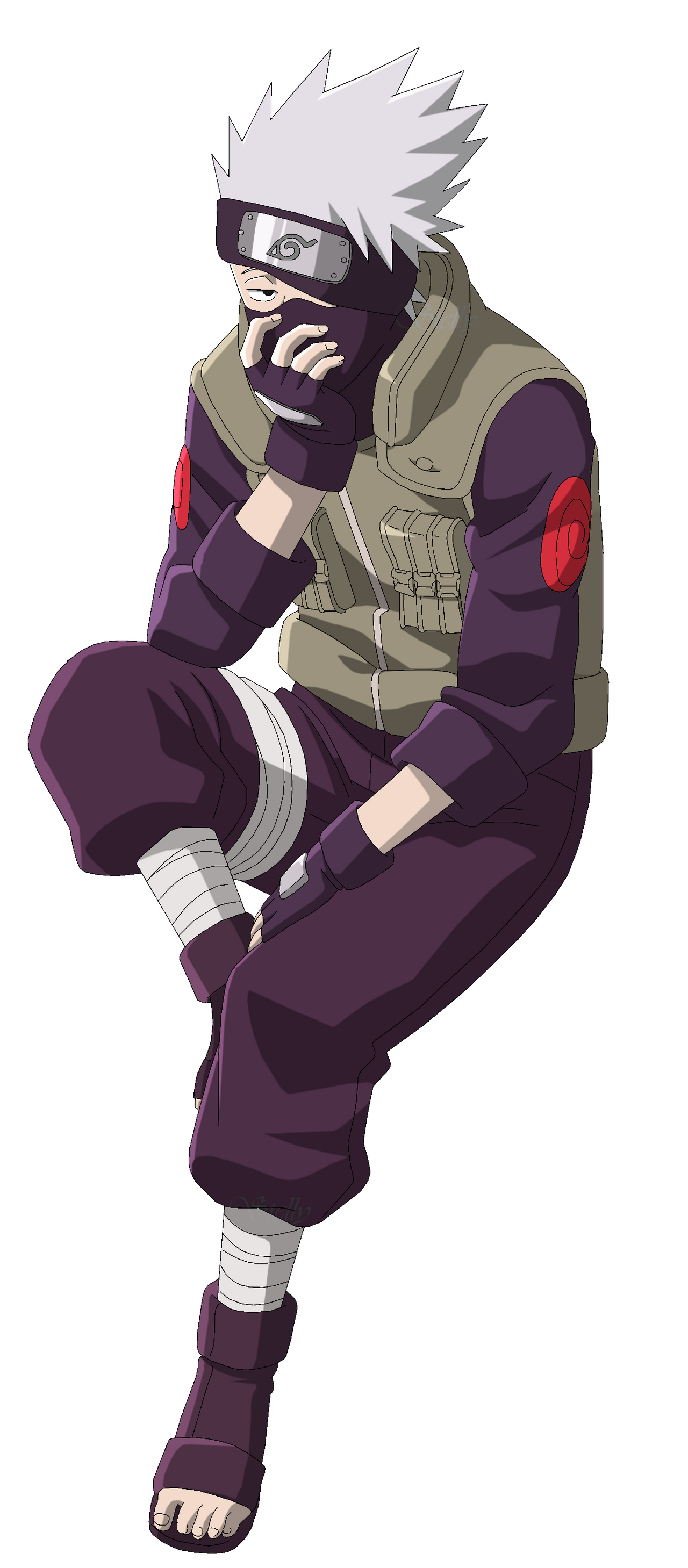 Kakashi Hatake Sitting - Lineart Colored by DennisStelly