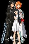 SAO - Kirito, Asuna e Yui - Lineart Colored