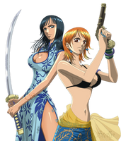 Nico Robin e Nami - Lineart Colored by DennisStelly
