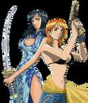 Nico Robin e Nami - Lineart Colored