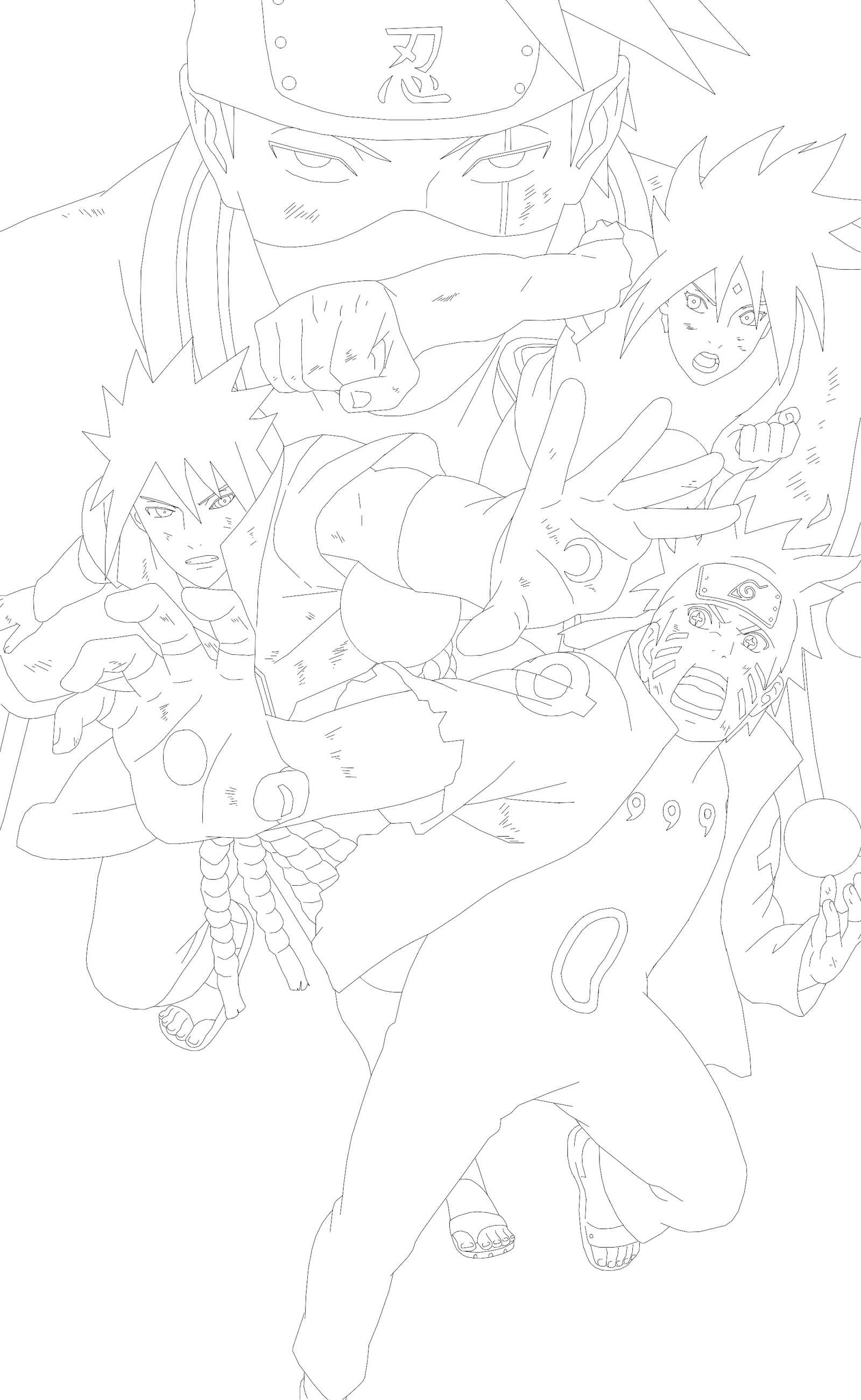Lineart - Naruto Shippuden - Team 7 Last Battle by ...