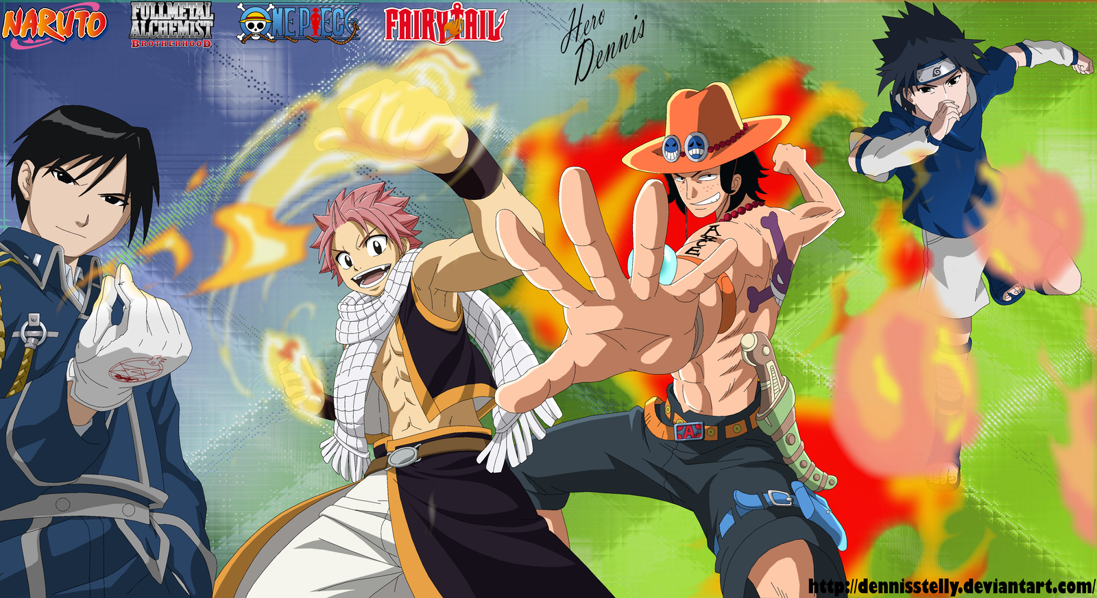 Anime Characters Using Fire : Anime crossover fire users characters by dennisstelly on
