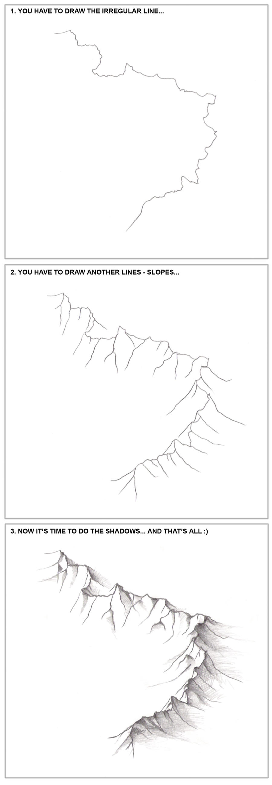 3 steps - How to draw the mountains... by fragless
