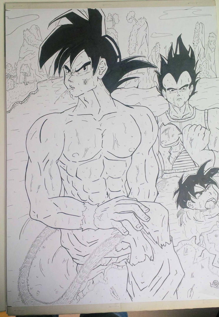 Goku , kid Gohan and Vegeta by arschra